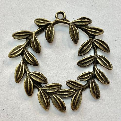 Antique Bronze Wreath Pendant