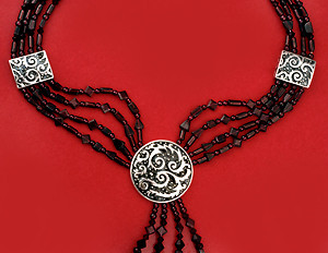 4 Strand Sterling Silver Cosmic Pendant & Beads Strung with Garnets