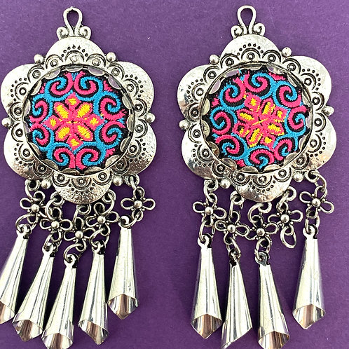 Hand Embroidered  Antique Silver BOHO Chandeliers