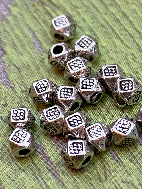 Hill Tribe Silver 3mm Angular Spacer Beads (10 pcs)