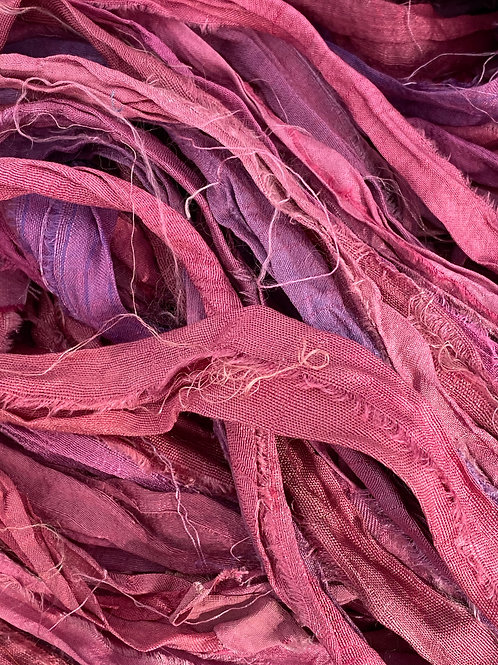 Deep Pinks & Purple Recycled Sari Silk Ribbon (by the yard)