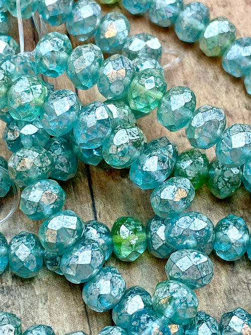 Blue/Green 6x8MM Faceted Rondelle with Mercury Finish
