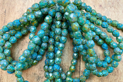 6mm Fire Polish Sage with Turquoise Finish