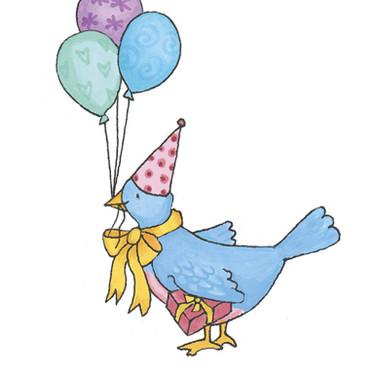 Sticker -  Birthday Blue Bird ' Marker