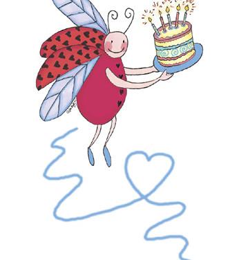 Sticker - Lady Bug & Cake - Marker