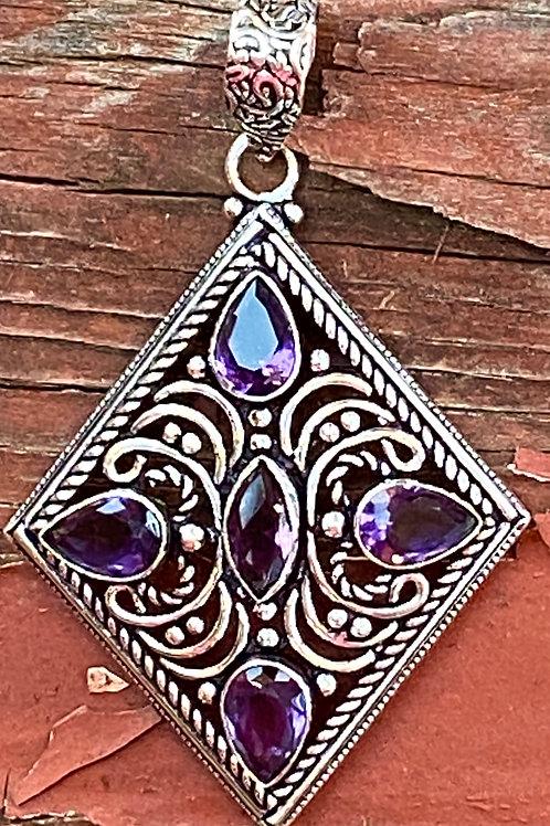 Amethyst Diamond Shaped Pendant