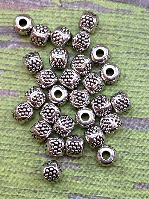 Hill Tribe Silver Flower Bead Spacer Lot of 10 pcs
