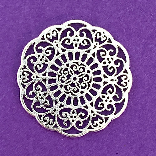 Silver Plated Filigree Connector / Pendant
