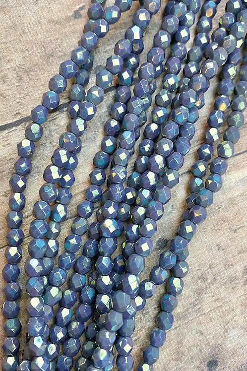 4MM Fire Polished Purple Gray Alabaster with Metallic Green Finish
