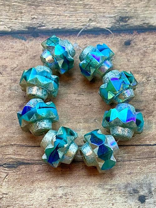 13x15mm Crown Bead Teal & Sky Blue Silver AB