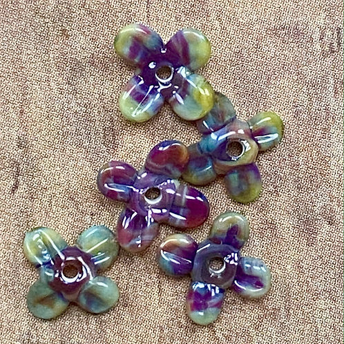 Berries & Greens Tiny Lampworked Glass Petal Beads