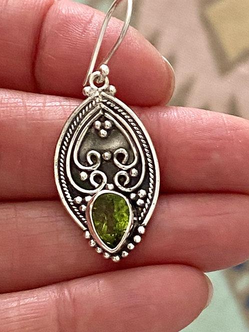 Sterling Silver & Peridot Gemstone Earrings