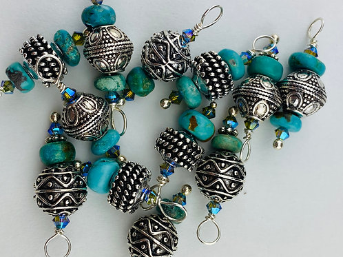 Pre-Made Turquoise, Crystal  Bead Dangle