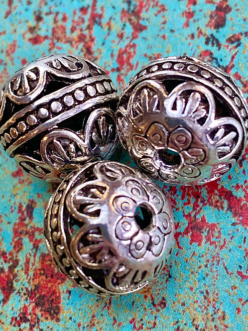 15mm Tibetan Silver Detailed Bead