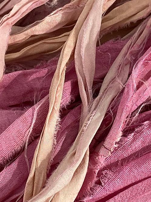 Shades of Pink Recycled Sari Ribbon (by the yard)