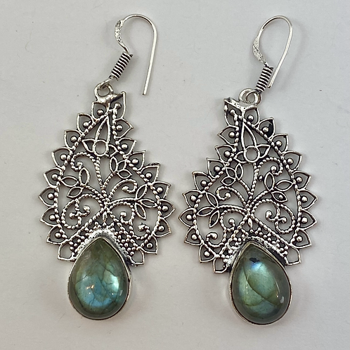 Labradorite Paisley Earrings