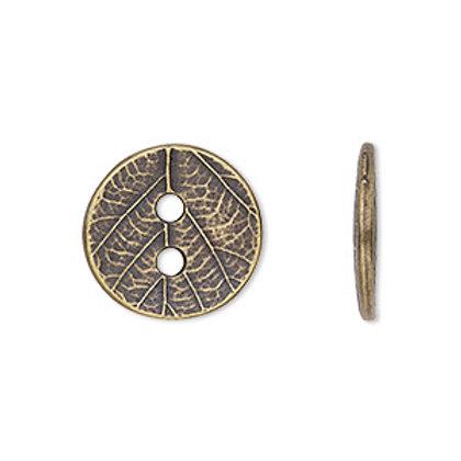 Brass Leaf Button