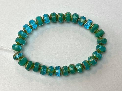 3X5mm Rondelle - TurquoiseTransparent/Opaque Mix