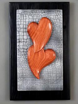Bubinga Hearts on grey crackle