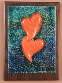 'Bubinga Hearts/ blue green crackle