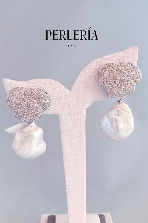 Aretes flor circonia perla nucleada
