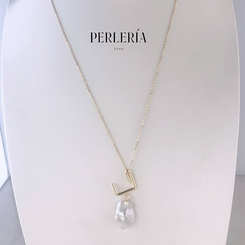 Cadena acero con perla pera
