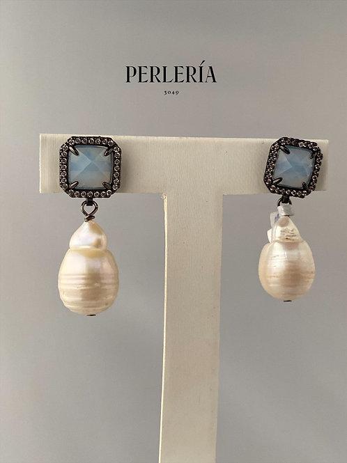 Perlas calabazo en arete negro