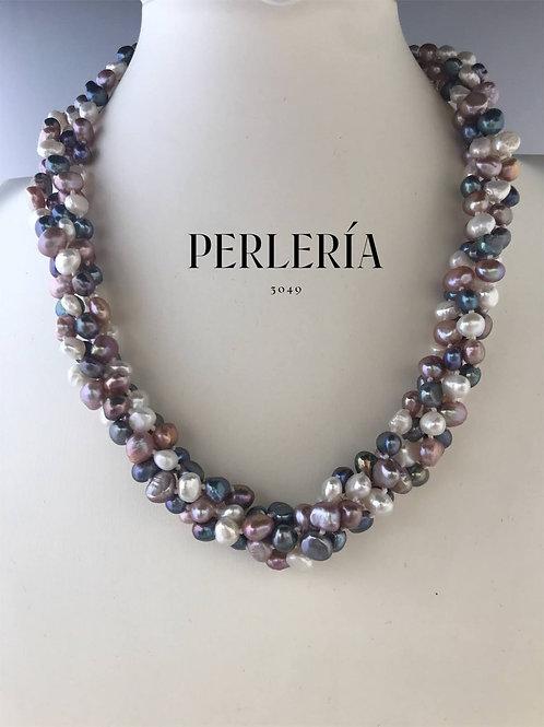 Collar 4 hilos perlas nugget