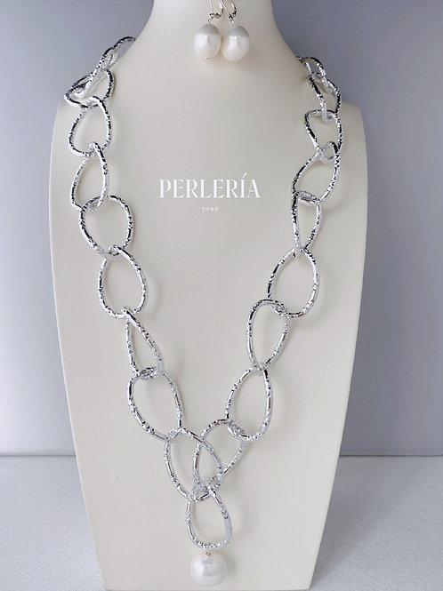 Cadena aluminio Perla concha y aretes
