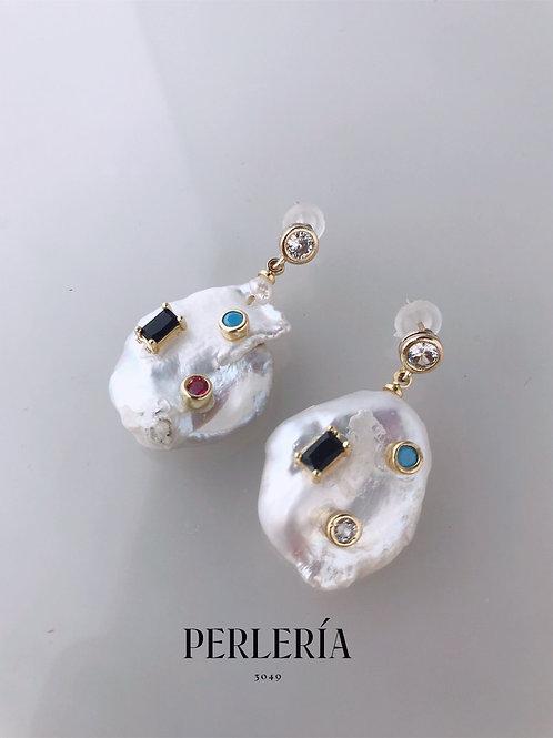Aretes de perla grande con cristales