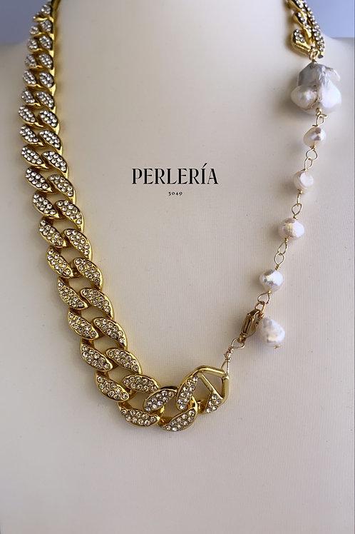 Cadena circonias y perla nucleada