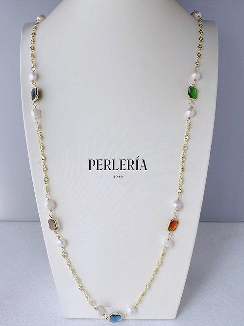 Cadena circonia con cristales y Perlas