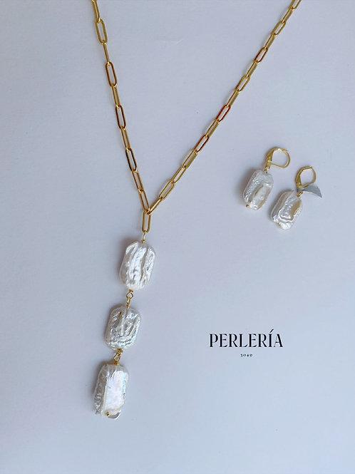Cadena con Perlas cuadradas y aretes