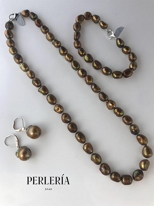 Juego de Perlas color bronce