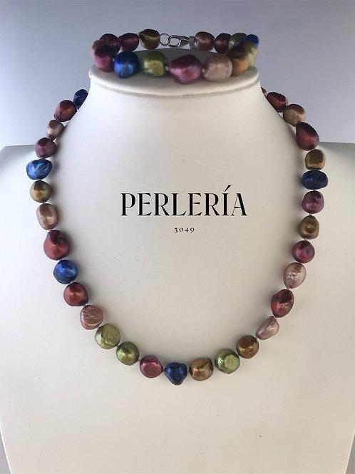 Juego collar y pulsera multicolor