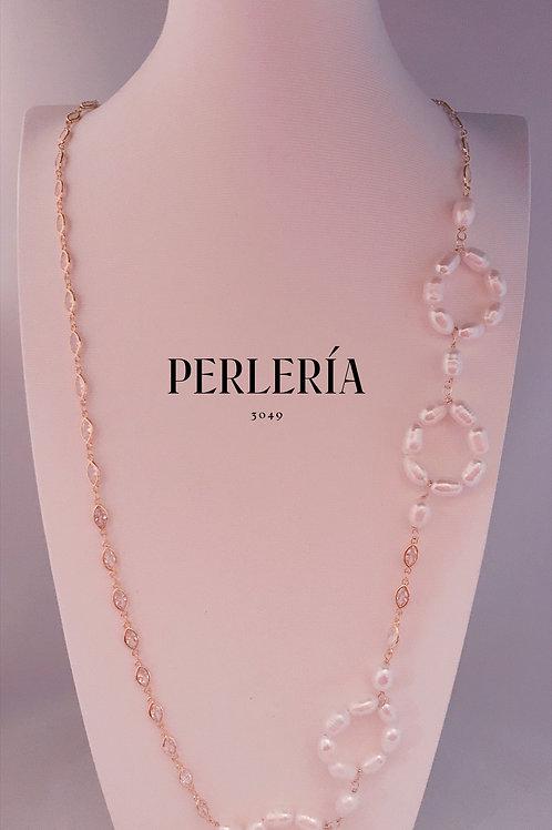 Cadena circonia y aros Perla blanca