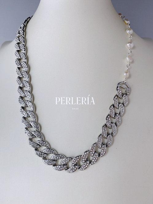 Cadena circonia y Perlas en plateado