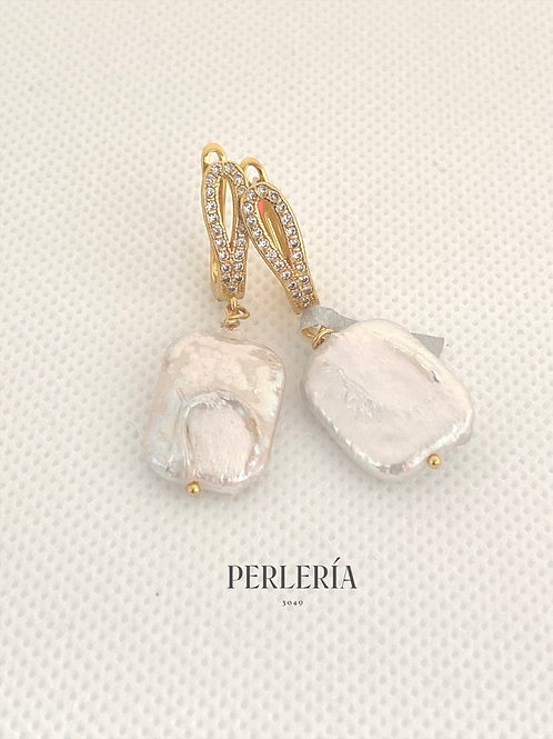 Aretes perla cultivada cuadrada