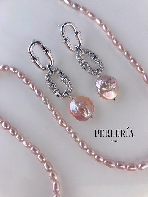 Aretes Perla rosa