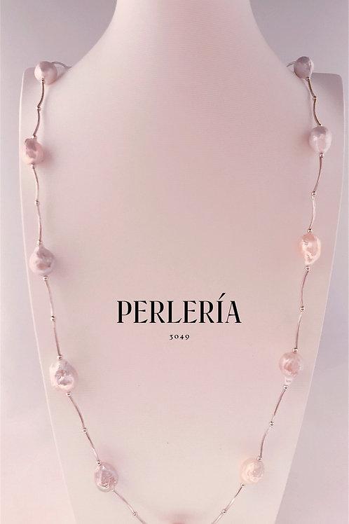Collar perlas rosa pálido