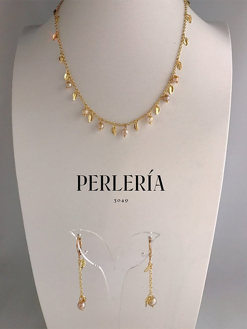 Cadena de hojitas y perlitas