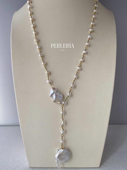 Collar Perlas nudo rosario