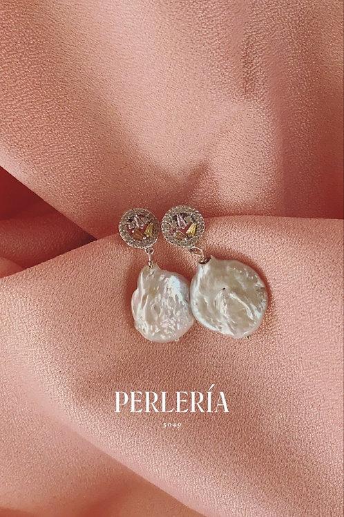 Aretes circonia pastel y perla