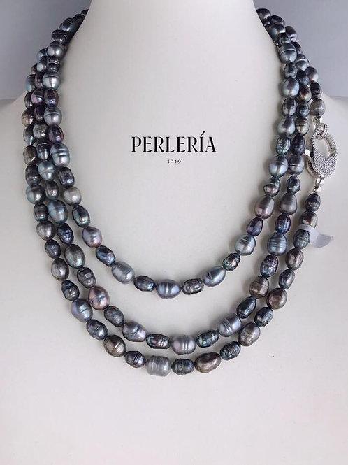 Collar largo perla gris