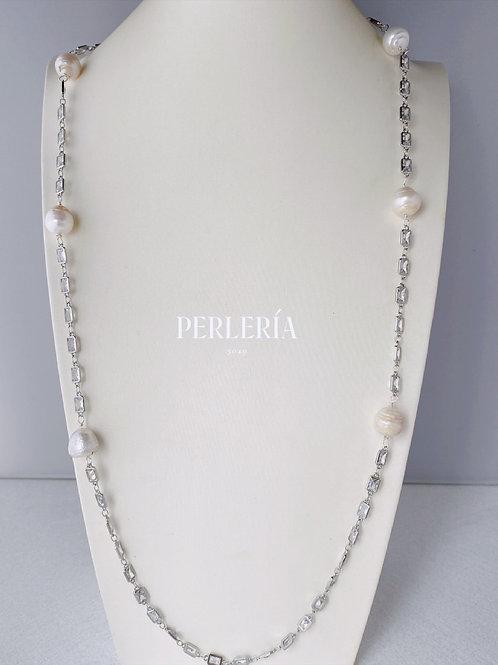 Cadena de circonia con Perlas