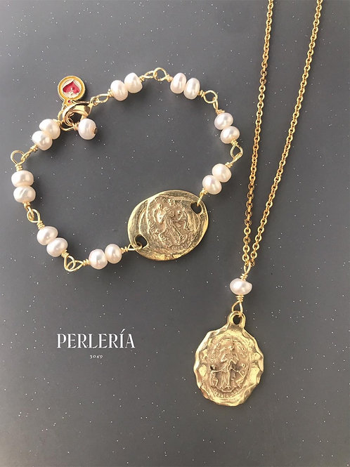 Pulsera Virgen desatanudos en Plata con Chapa de oro