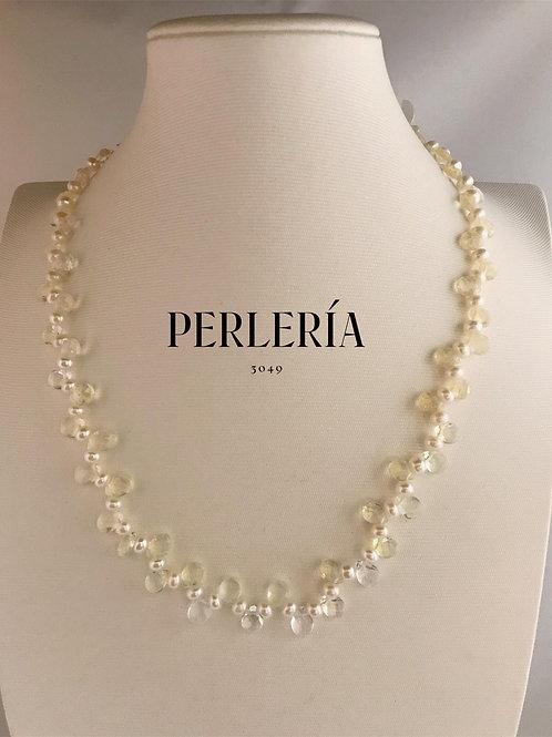 Collar cristales con perlas cultivadas y aretes