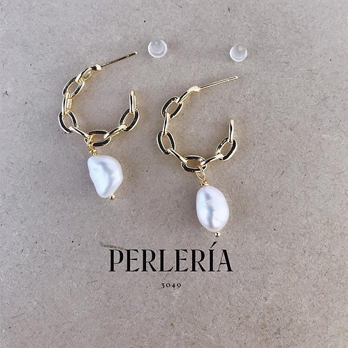 Aretes tipo Cadena con perla