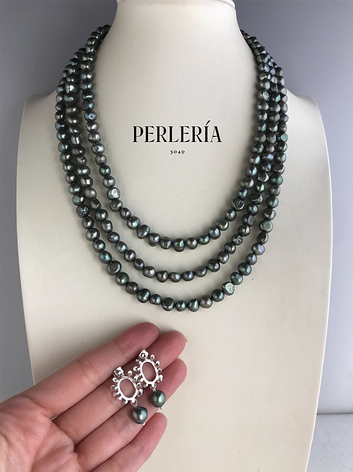 Collar triple con aretes Perla verde
