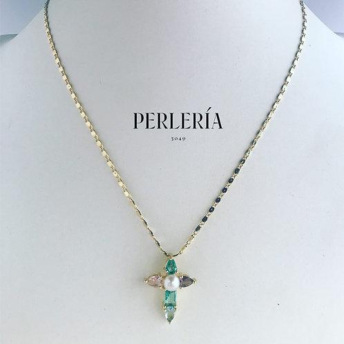 Cruz perla y cristal